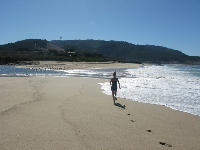 Me running on beach in Carmel